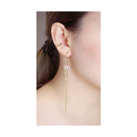 Star Drop Hoop Earrings - Gold