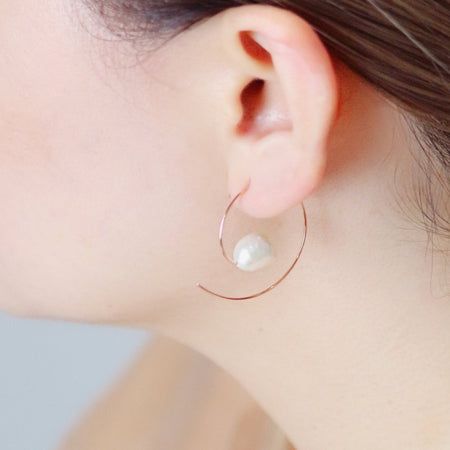 Hoop Pearl Earrings - Rose Gold