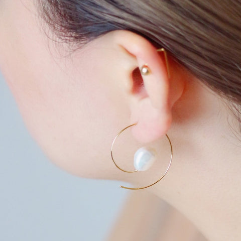 Hoop Pearl Earrings - Gold