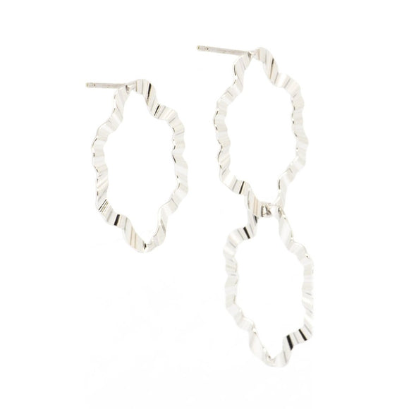 Ripple Mismatch Earrings - Silver