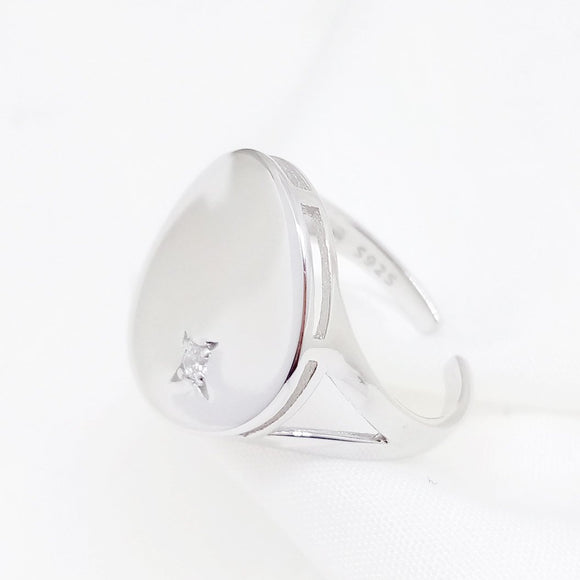 Star Bling Signet Adjustable Ring