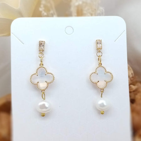 Clover Rhinestone Drop Earrings