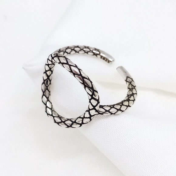 SnakeSkin Open Circle Adjustable Ring