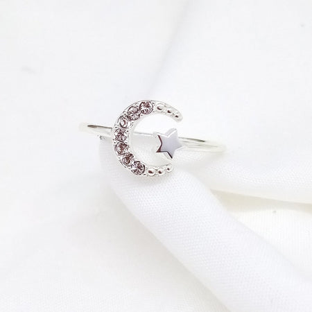 Open Moon & Star Adjustable Ring