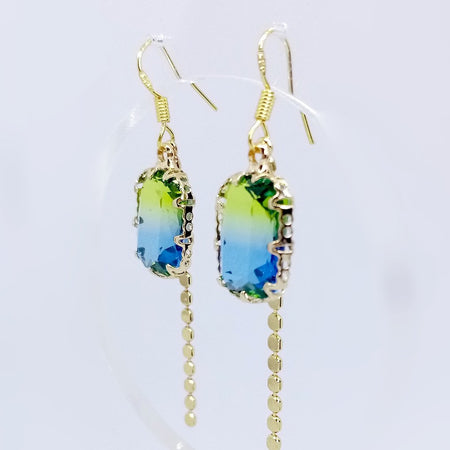 Rectangle Crystal Drop - Green Blue