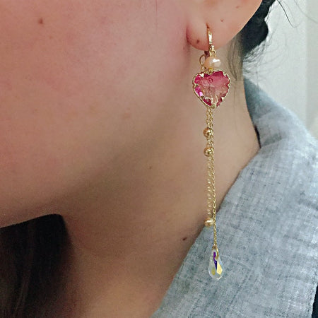 Love Drop Hoop Earrings - Pink