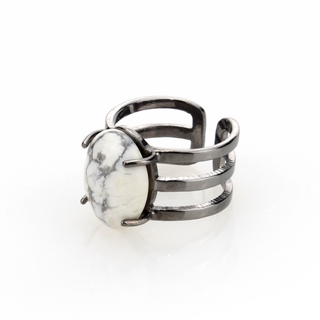Marble Stone Triple Ring - Chrome - Blaack Fox