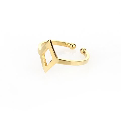Diamond Cut-out Ring - Gold - Blaack Fox
