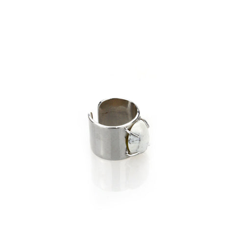 Marble Stone Chunky Ring - Silver
