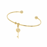 Key Pendant Cuff Bangle - Gold