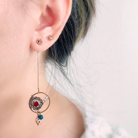 Open Circle with Flower Bead Swing Earrings - Red