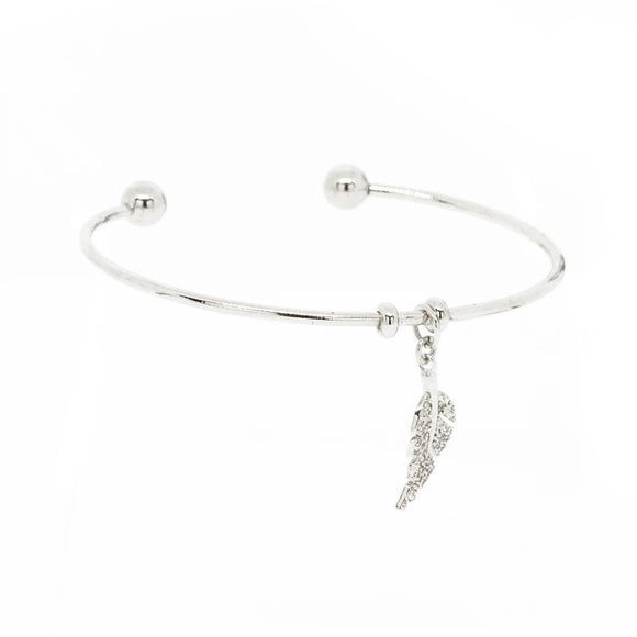 Leaf Pendant Cuff Bangle - Silver