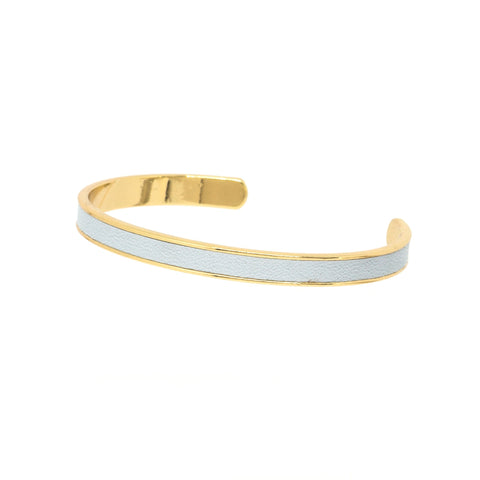 Light Blue Leather Cuff - Gold