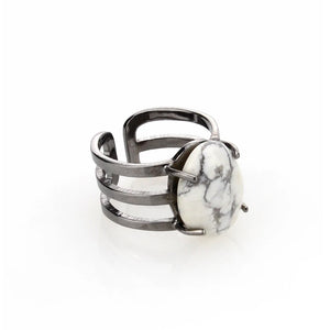 Marble Stone Triple Ring - Chrome