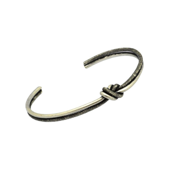 Two Tone Knotted Bangle - Matte Silver