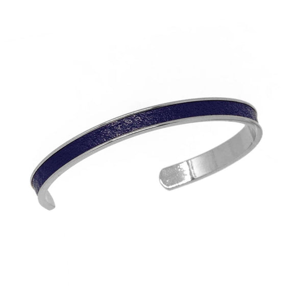 Navy Leather Cuff - Silver