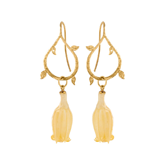 Open Tear Leaf Bell Flower Resin Earrings - Yellow