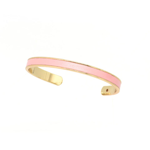 Pink Leather Cuff - Gold