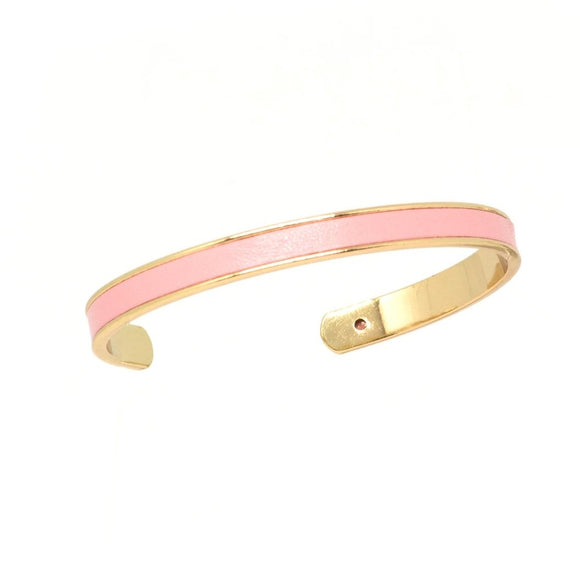 Pink Leather Cuff - Gold, Bracelet - Blaack Fox