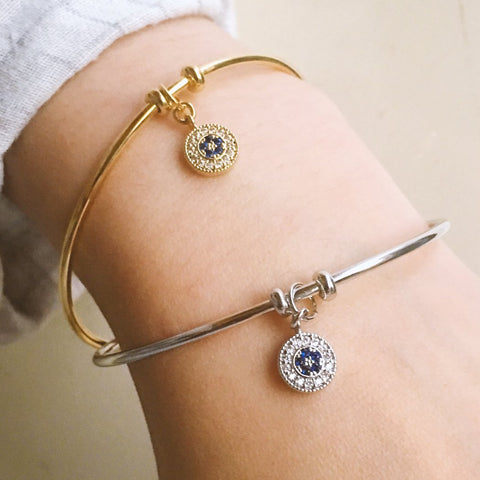 Blue Star Pendant Cuff Bangle - Silver