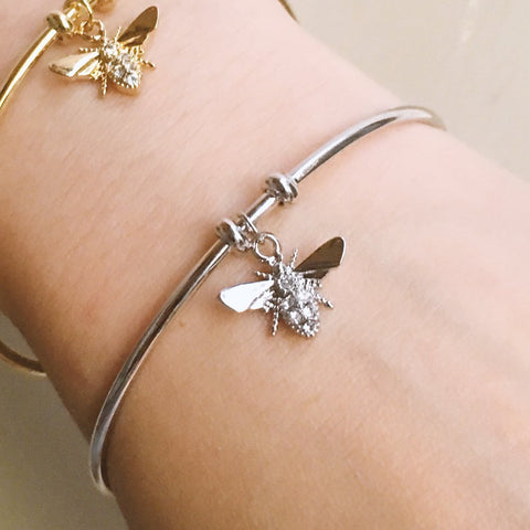 Bee Pendant Cuff Bangle - Silver