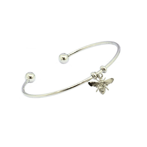 Bee Pendant Cuff Bangle - Silver , Bracelet - Blaack Fox