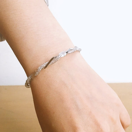Crystal Twist Cuff - Silver