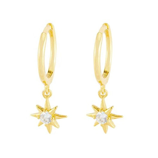 Star Drop Small Hoop Earrings - Gold, Earrings - Blaack Fox