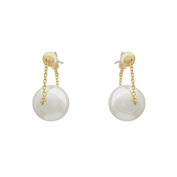 Swinging Pearl Earrings - Gold