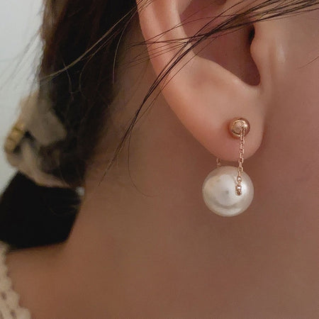 Swinging Pearl Earrings - Rose Gold