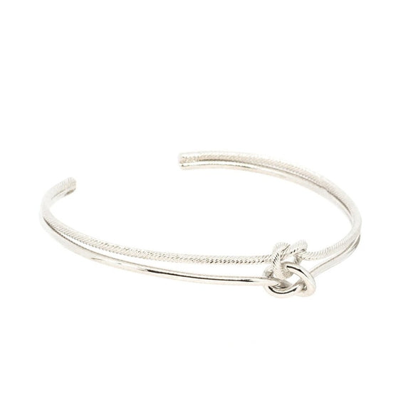 Tie The Knot Bangle - Silver, Bracelet - Blaack Fox