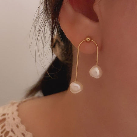 Twinny Pearl Earrings - Gold