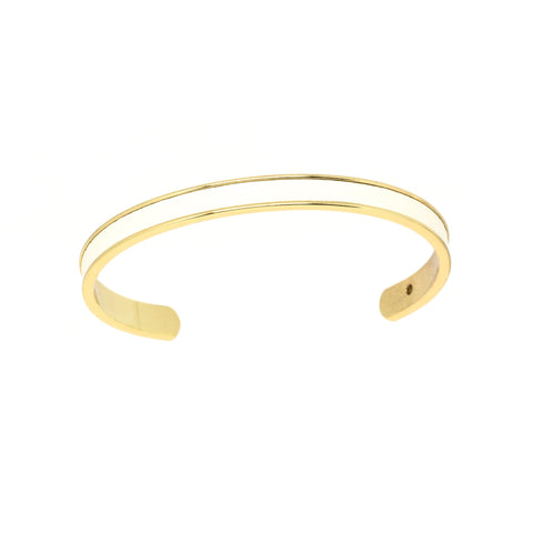White Leather Cuff - Gold