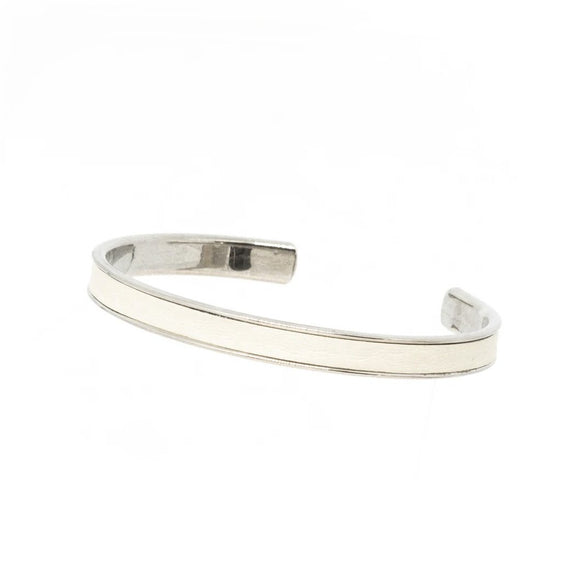 White Leather Cuff - Silver, Bracelet - Blaack Fox