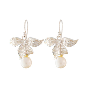 Yucca Flower with Pearl Hook Earrings