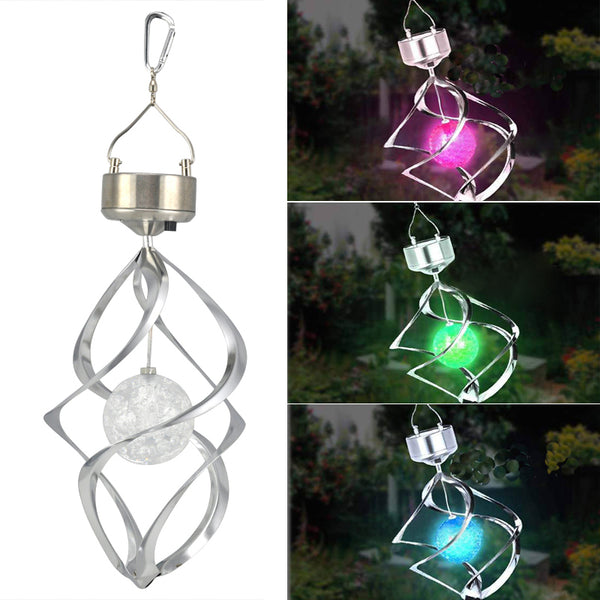 SOLAR POWERED SPIRAL WIND SPINNER WITH COLOUR CHANGING LED LIGHT GARDEN ORNAMENT