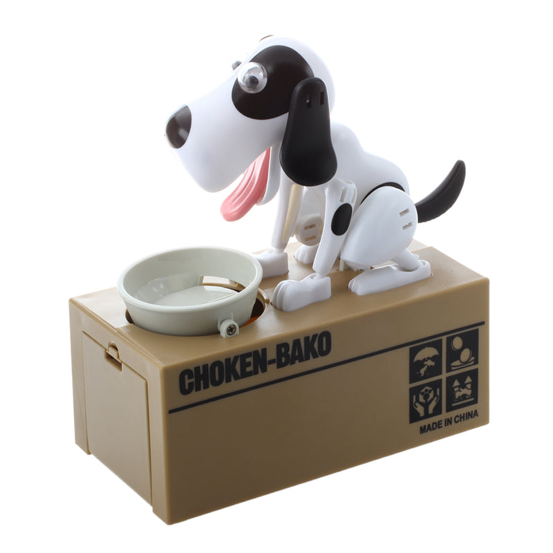 Robotic Dog Puppy Hungry Hound Bank Coin Eating Save Money Box Collection Gift