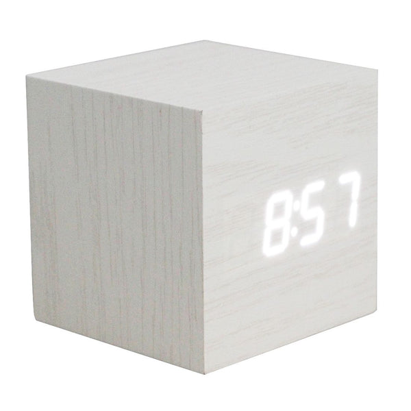 Wood Square LED Alarm Control Digital Desk Clock Wooden Style Room Temperature White wood white led