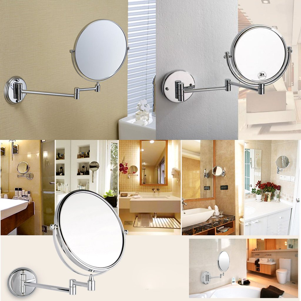 "Chrome round 8"" wall mirror vanity mirror cosmetic mirror double-sided 7X magnifying mirror"