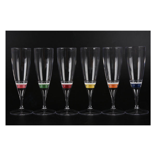 6 Set LED Light Wine Flute Light Up Liquid Activated Champagne Glasses for Wedding New YearParty Flute Multicolor