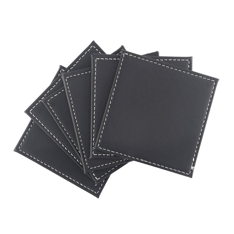Black PU Leather Drink Coasters Set of 6 Glass Mug Cup Mats Pats Table Placemats