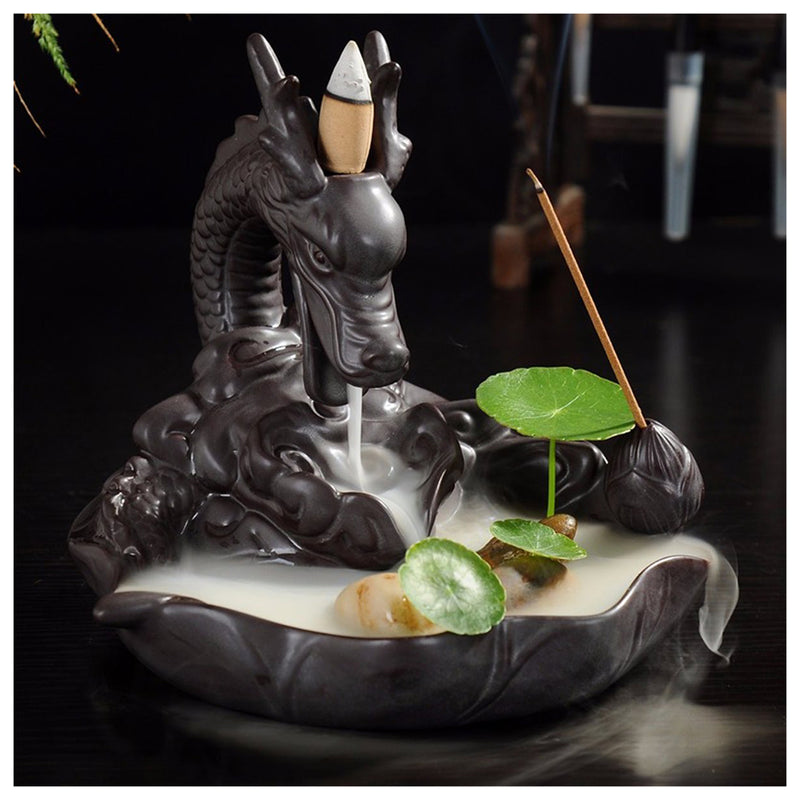 Dragon Ceramic Backflow Cone Incense Burner Dragon Smoke Holder