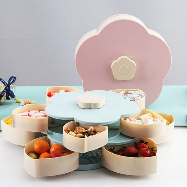 Petal-Shape Rotating Snack Box Candy Tray Food Storage Box Wedding Candy Plates Double-Deck Dried Fruit Organizer Storage Pink