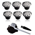 6 reusable coffee filters filled with coffee capsule housing with 1 coffee spoon and 1 cleaning brush