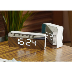 LED Alarm Clock Multifunction Digital Electronic LED Mirror Clock Temperature Large Display Home Decor Mirror Function-rectangle