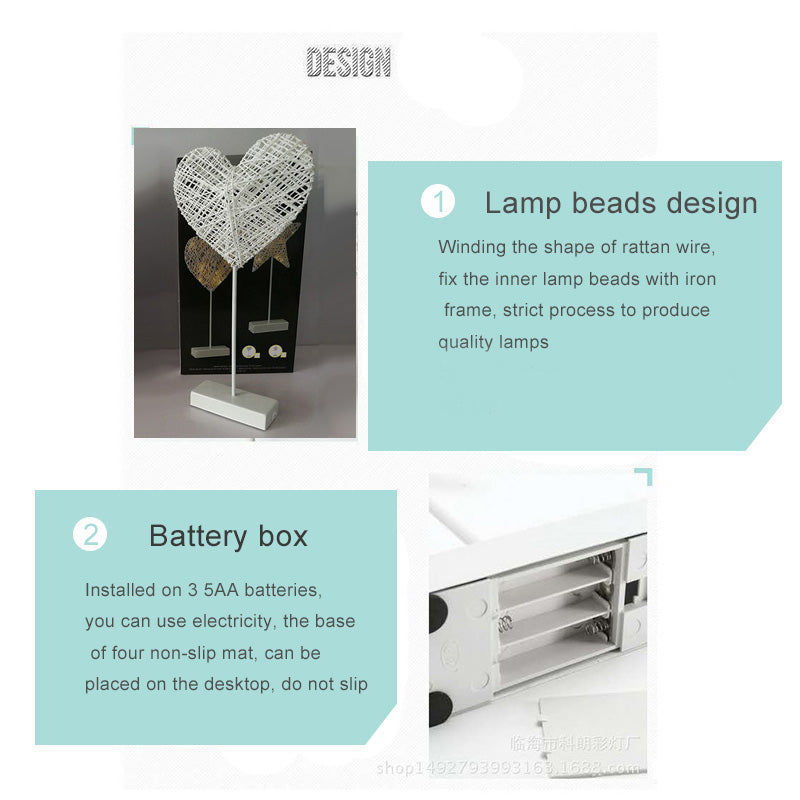 Creative handmade night light love LED decorative lamp dormitory small table lamp gifts