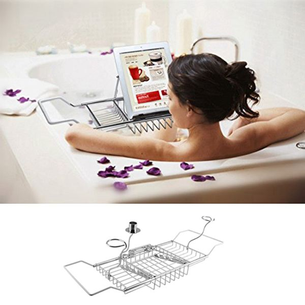 Over Bath Tub Racks Shower Organizer Bathtub Caddy Tray with Extending Sides