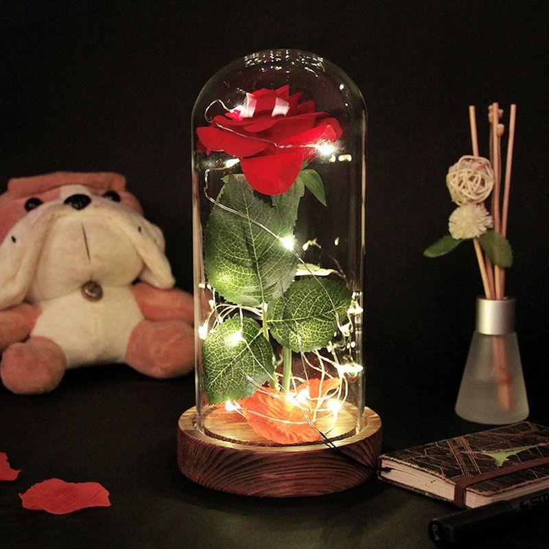 Eternal Rose Flower Red Silk Rose and LED Light with Fallen Petals in Glass Dome on a Wooden Base BEST Gift for Valentine's Day Wedding Anniversary Birthday white