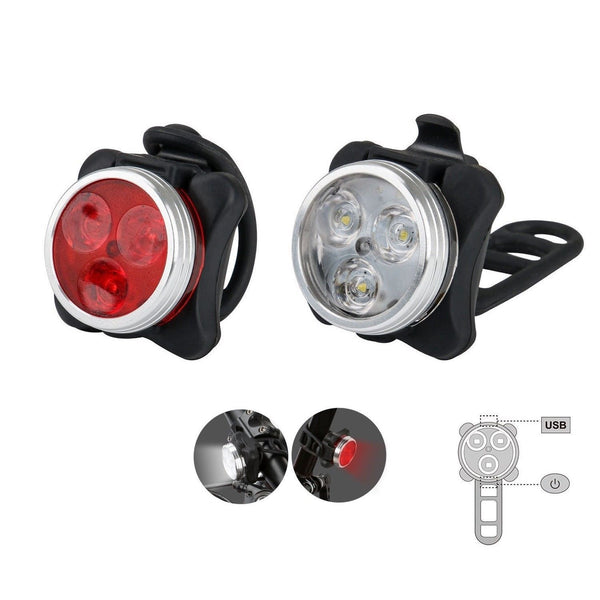 Mountain bike HJ 030 front and rear taillight USB rechargeable 3LED front and rear safety warning lights