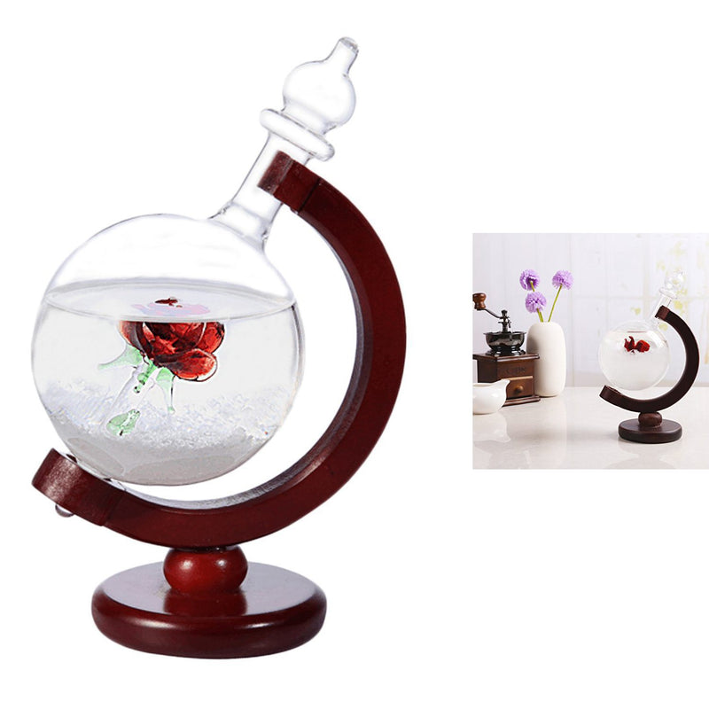 Beautiful Weather Forecast Crystal Storm Glass Wooden Base Globe Shape Desk Room Ornaments for Home Decoration Christmas Gifts